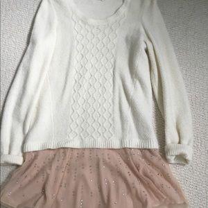 Anthropologie cream peplum sweater